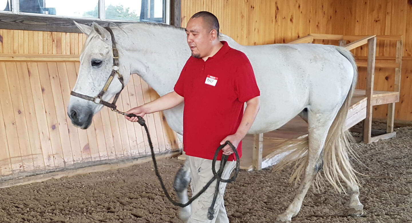 Tony walks horse around indoor arena