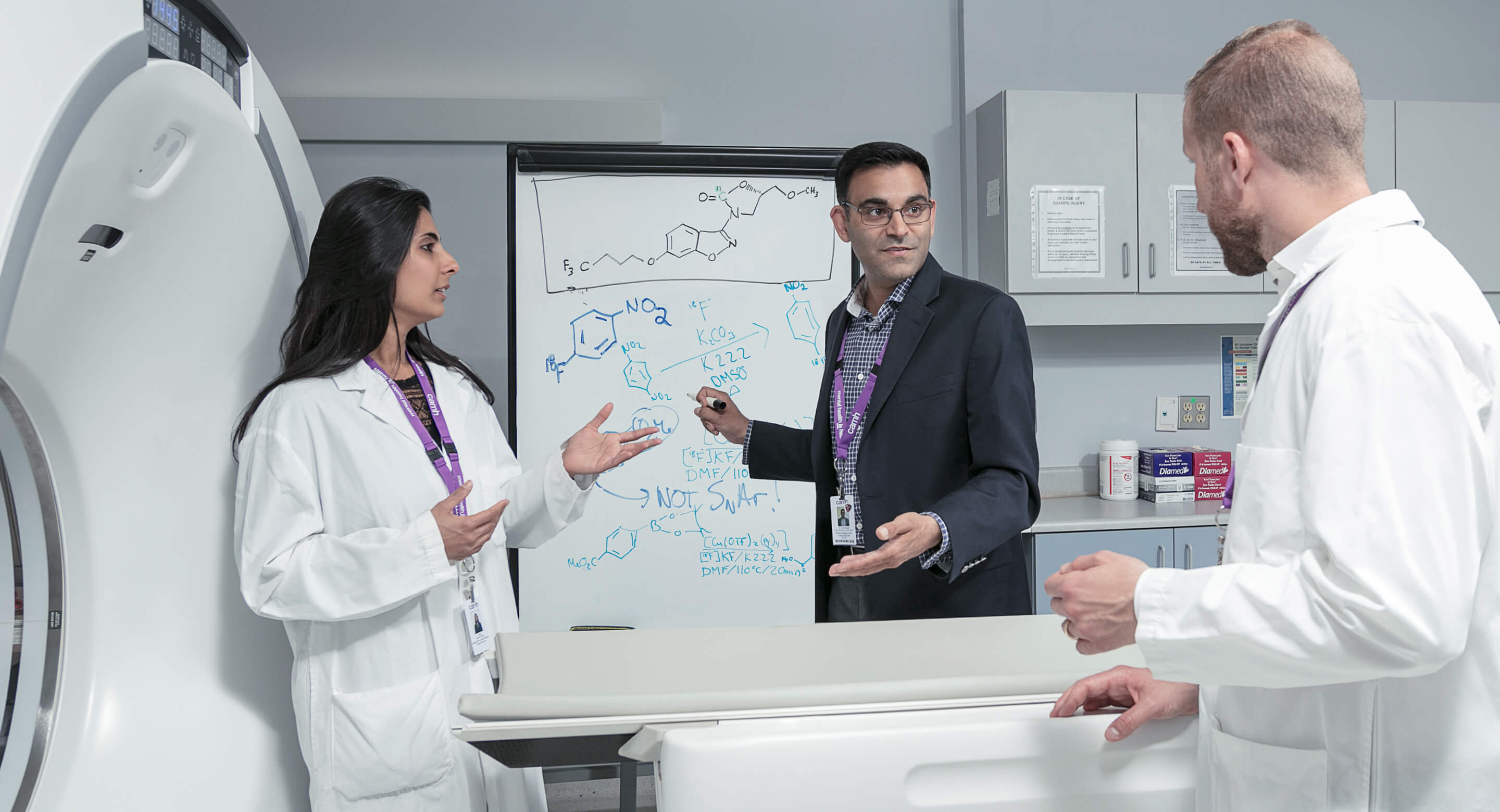 Dr. Neil Vasdev (centre), Director of CAMH's Azrieli Centre for Neuro-Radiochemistry, is one of four Canada Research Chairs leading a research project at CAMH that combines brain imaging and music to help treat clinical depression