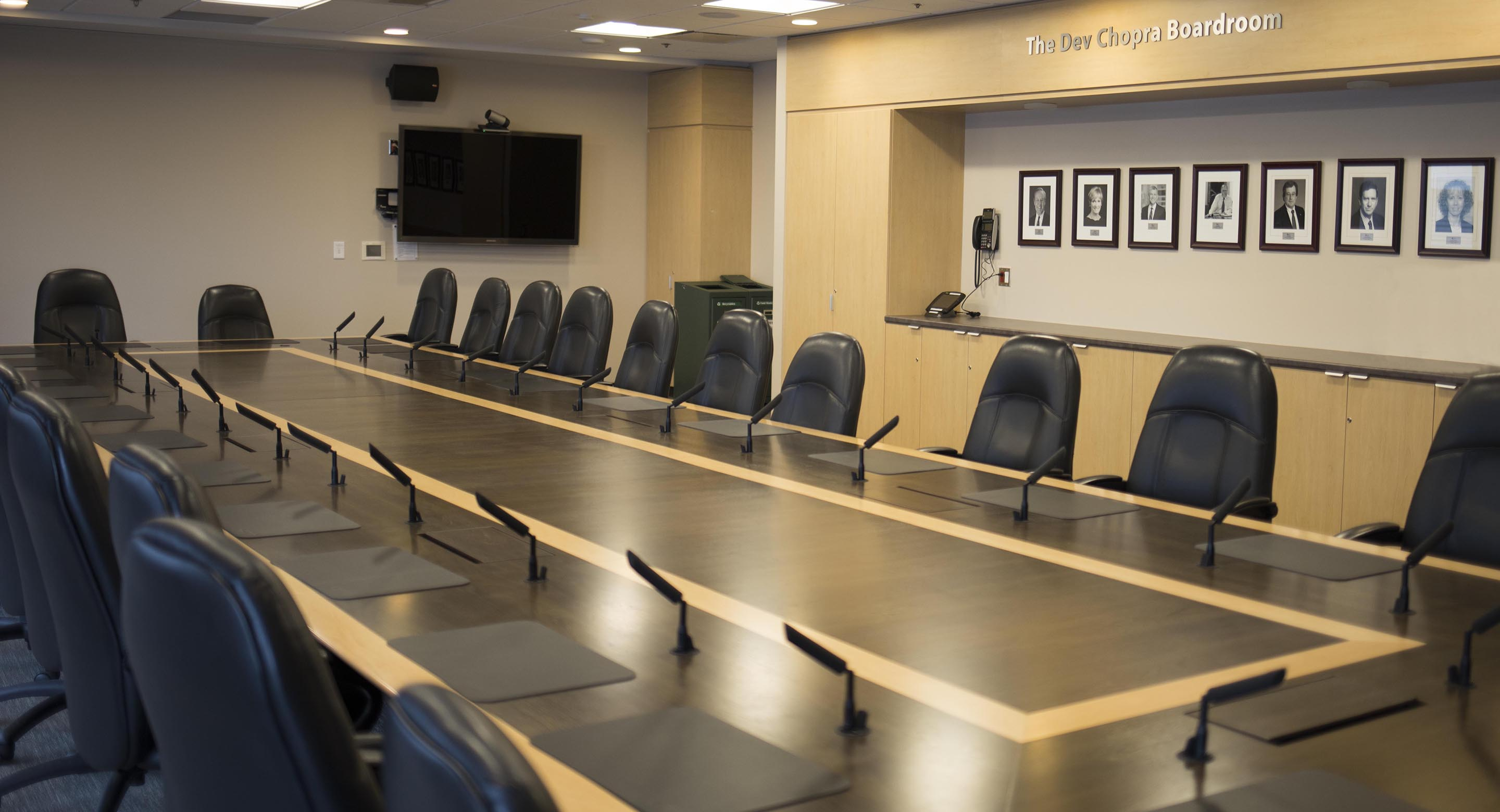 Committees and board meetings take place in the CAMH executive boardroom.