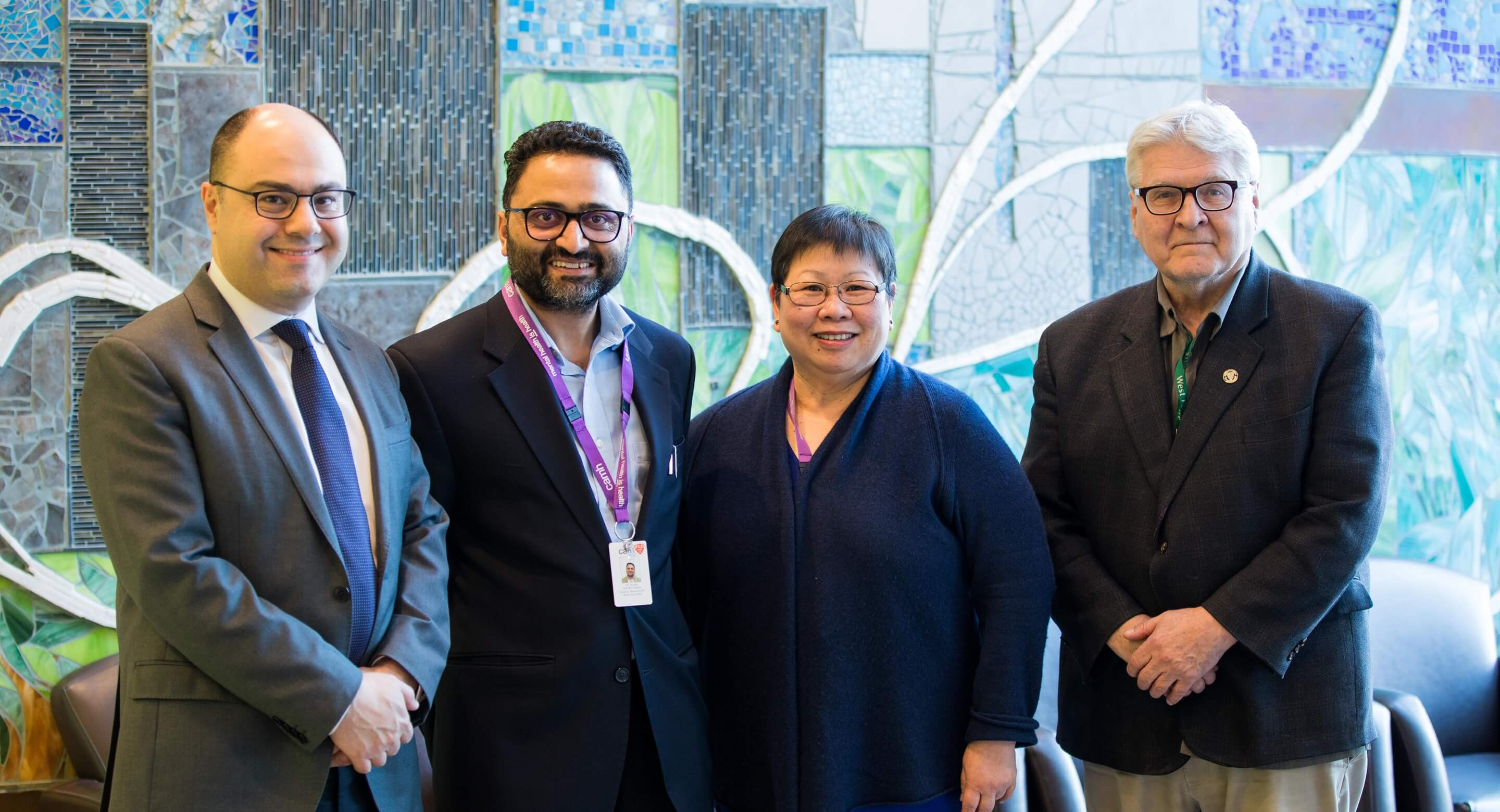 Integrated care pathway team members (from left): CAMH's Dr. Tarek Rajji, Dr. Sanjeev Kumar and Rong Ting, and Dr. Peter Derkach