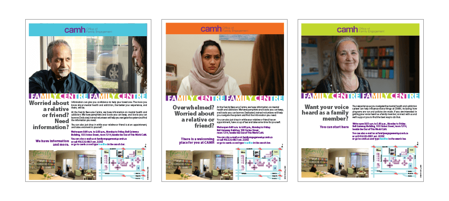 Three new posters from the CAMH Office of Family Engagement
