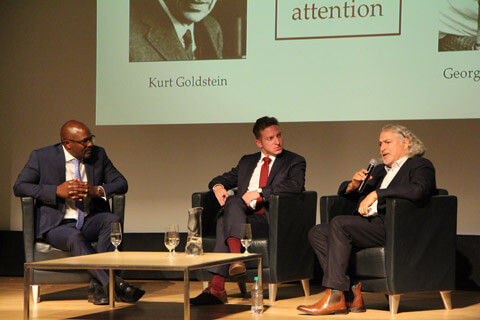 Dr. Kwame McKenzie, CEO of the Wellesley Institute, Elliot Cappell, City of Toronto Chief Resilience Officer, and Dr. Nikolas Rose answer questions from the audience