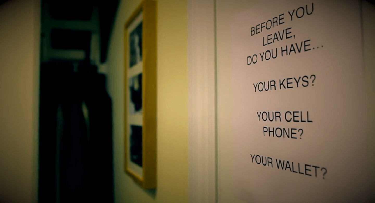 A reminder sign in a patient's home