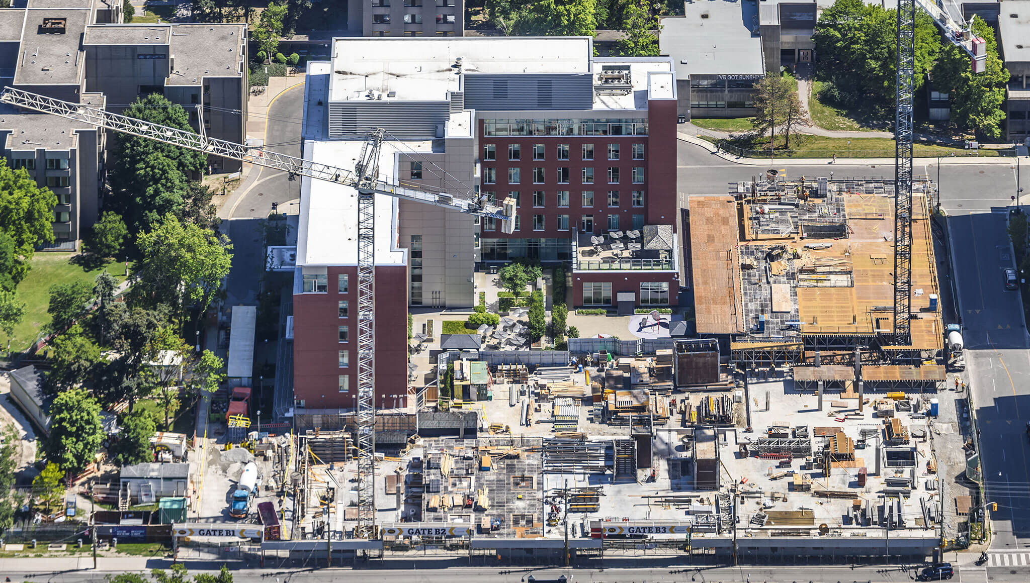 Aerial shot of McCain Complex Care and Recovery Centre during Phase 1C construction