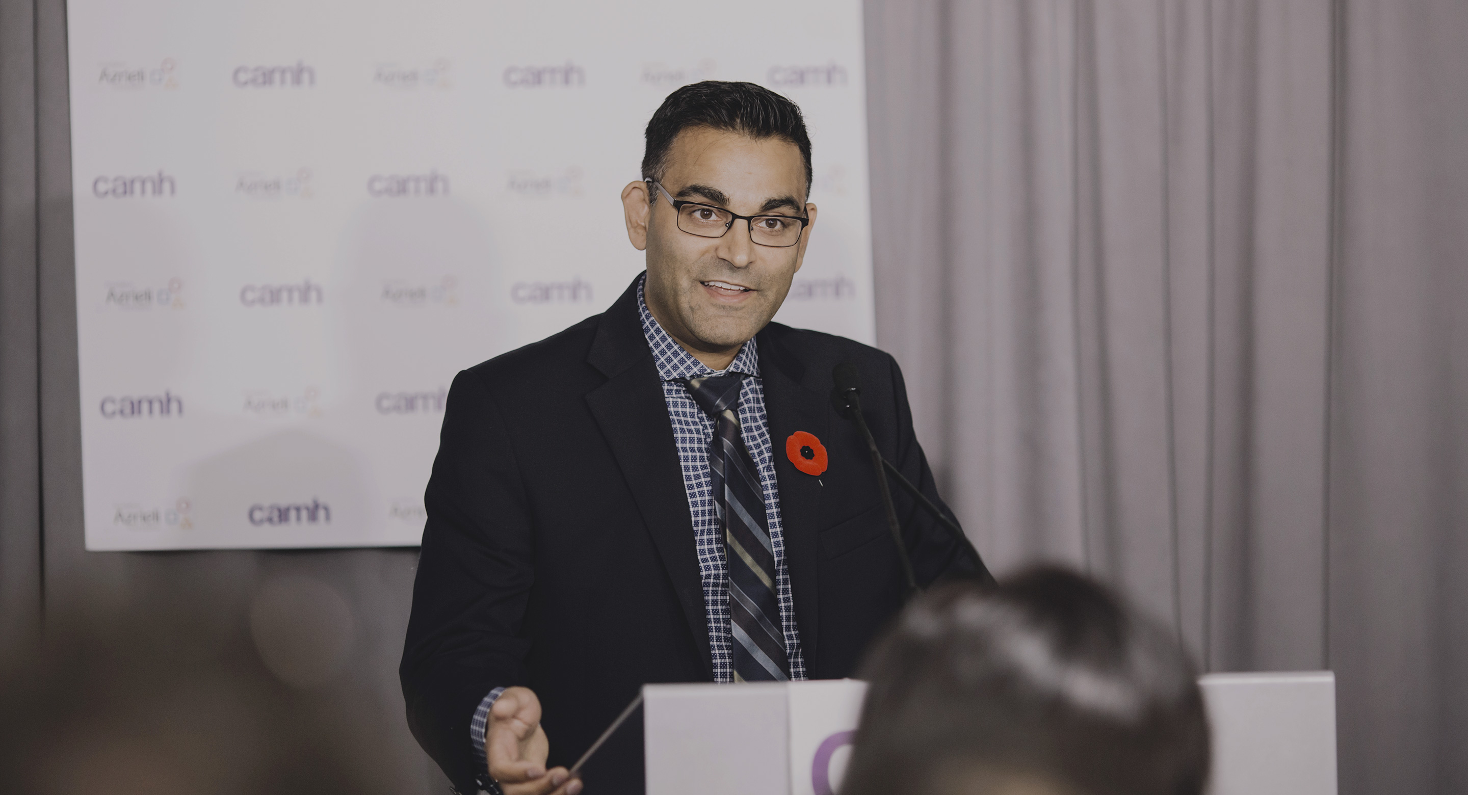 Dr. Neil Vasdev speaking during announcement of Azrieli Centre for Neuro-Radiochemistry