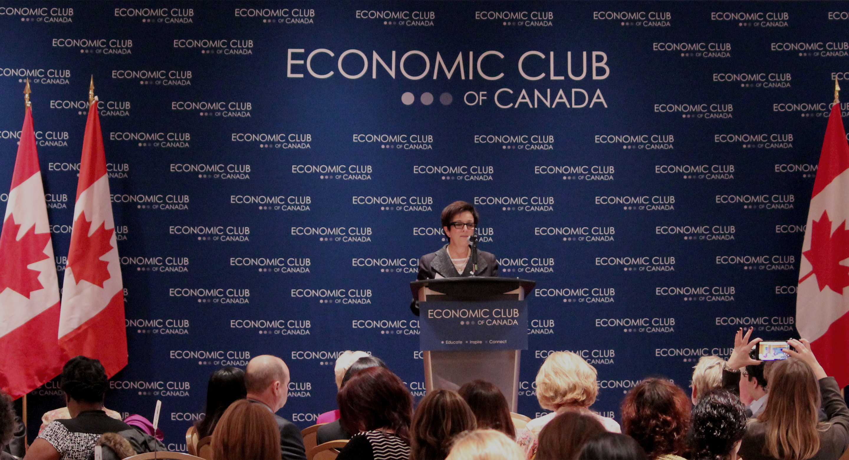 Picture of CAMH President and CEO Catherine Zahn speaking at the Economic Club of Canada