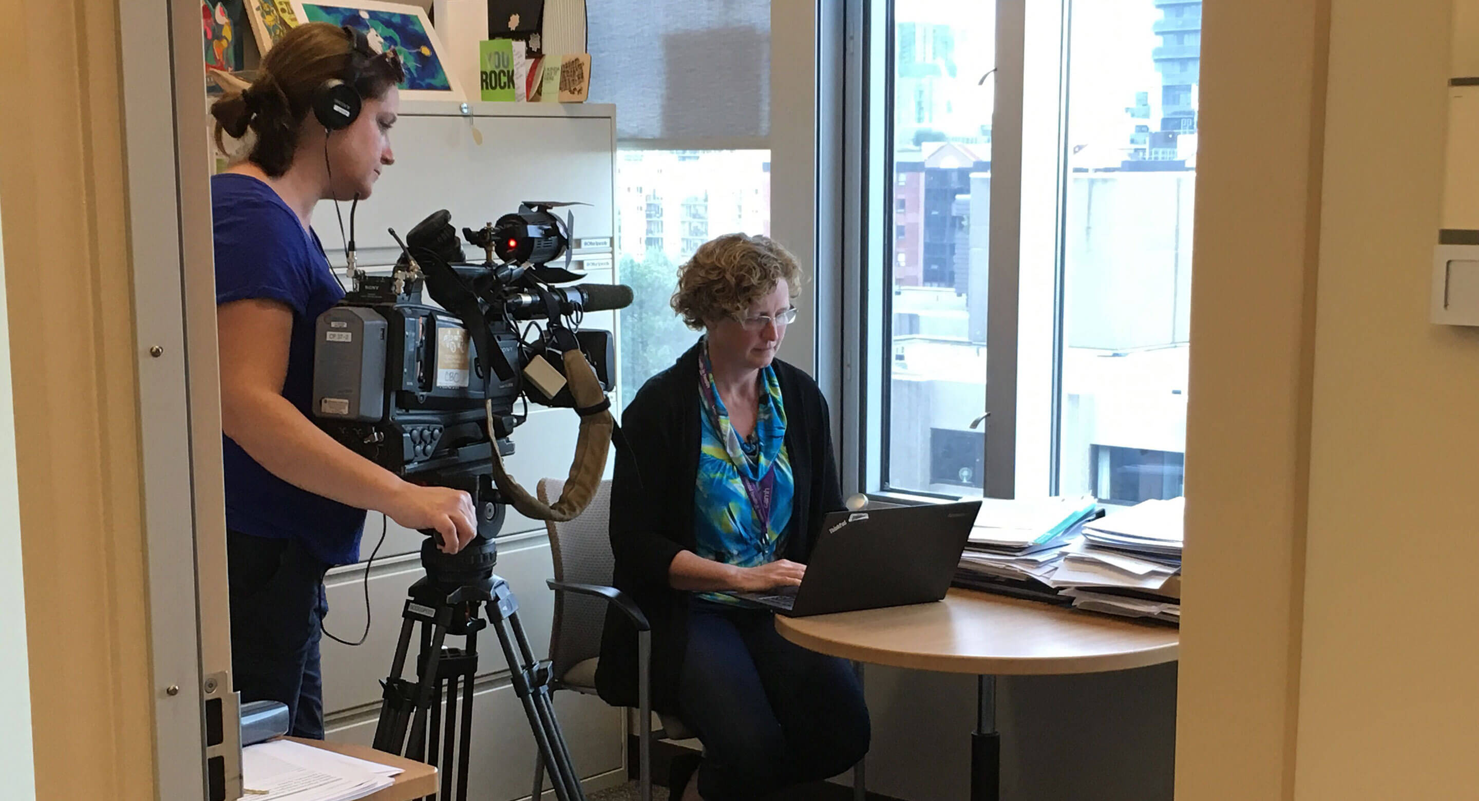 Dr. Joanna Henderson being interviewed by CBC's The National about talking to children about cannabis.