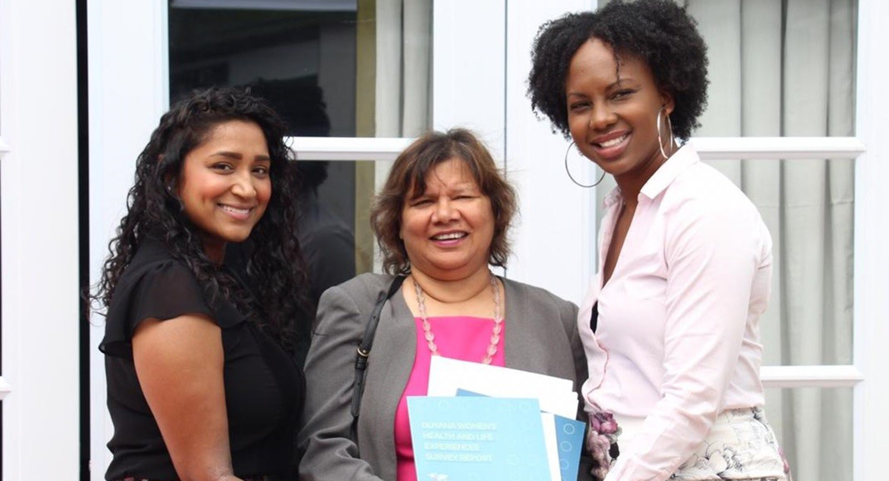 Sireesha Bobbili of CAMH and Ruth Rodney of York University led the qualitative component of a new report examining violence against women in Guyana. L to R: Sireesha Bobbili (CAMH), Honourable Lilian Chatterjee (Canadian High Commissioner to Guyana), Ruth Rodney (York University). Image credit: Carl Croker