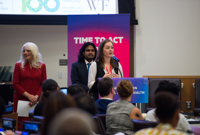 CAMH Youth Engagement Facilitator Emma McCann during panel at the United Nations General Assembly.