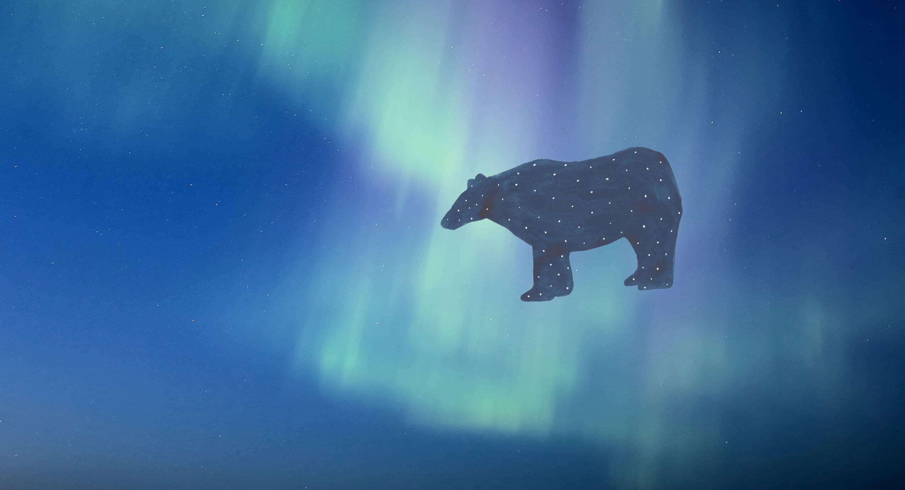 Shkaabe Makwa masthead with bear illustration and Northern Lights